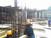 Column rebar installation at podium sub-basement