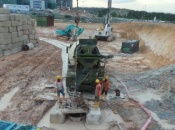 Concreting in progress for preliminary test pile