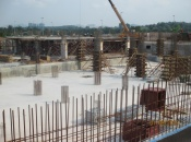 Installation of ground floor slab formwork for Tower A