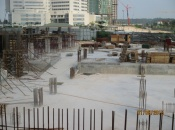 Installation of ground floor slab formwork for Tower B